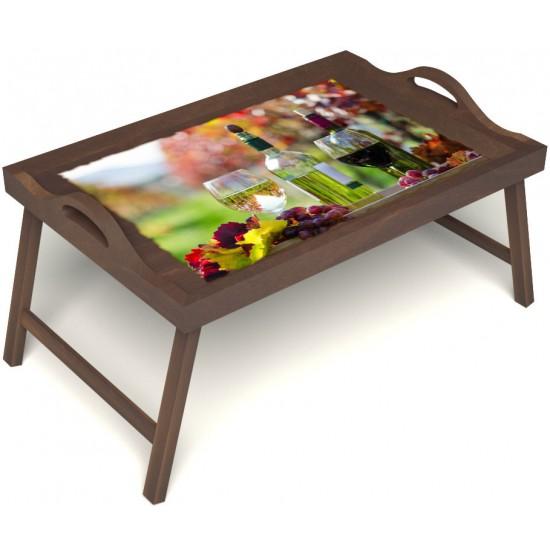 Столик для завтрака в постель «Русская берёза», «Осенний пикник» с ручками цвет орех