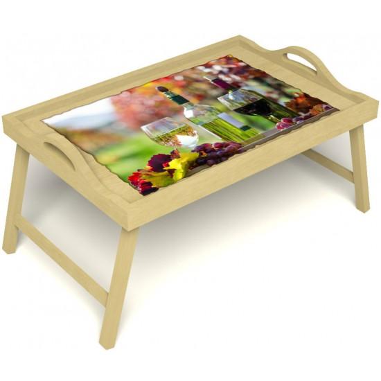 Столик для завтрака в постель «Русская берёза», «Осенний пикник» с ручками цвет светлый