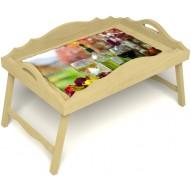 Столик для завтрака в постель «Русская берёза», «Осенний пикник» с фигурным бортиком цвет светлый