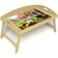 Столик для завтрака в постель «Русская берёза», «Осенний пикник» с 3-мя высокими бортиками цвет светлый