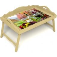 Столик для завтрака в постель «Русская берёза», «Осенний пикник» с 3-мя фигурными бортиками цвет светлый