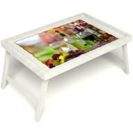 Столик для завтрака в постель «Русская берёза», «Осенний пикник» без ручек цвет белый