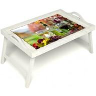 Столик для завтрака в постель «Осенний пикник» с ручками цвет белый