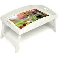 Столик для завтрака в постель «Русская берёза», «Осенний пикник» с высоким бортиком цвет белый