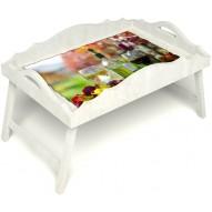 Столик для завтрака в постель «Русская берёза», «Осенний пикник» с фигурным бортиком цвет белый