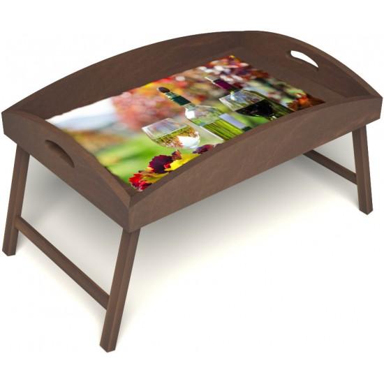 Столик для завтрака в постель «Русская берёза», «Осенний пикник» с высоким бортиком цвет орех