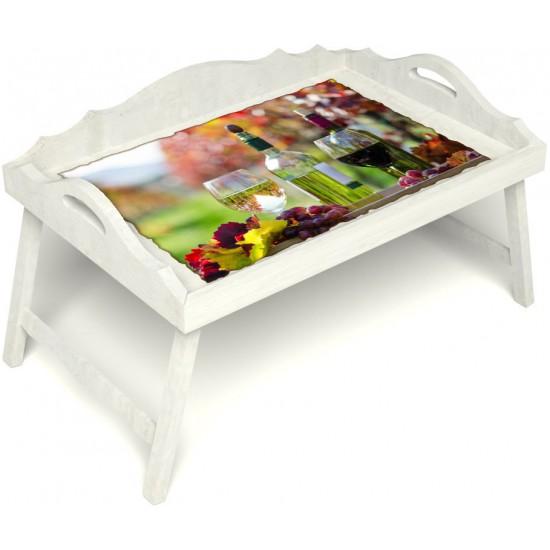 Столик для завтрака в постель «Русская берёза», «Осенний пикник» с 3-мя фигурными бортиками цвет белый