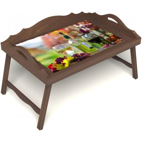 Столик для завтрака в постель «Русская берёза», «Осенний пикник» с 3-мя фигурными бортиками цвет орех