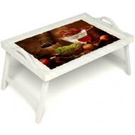 Столик для завтрака в постель «Привет с Кавказа» с ручками цвет белый