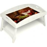 Столик для завтрака в постель «Русская берёза», «Привет с Кавказа» с высоким бортиком цвет белый