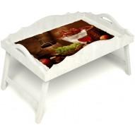 Столик для завтрака в постель «Русская берёза», «Привет с Кавказа» с фигурным бортиком цвет белый