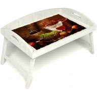 Столик для завтрака в постель «Русская берёза», «Привет с Кавказа» с 3-мя высокими бортиками цвет белый