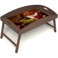 Столик для завтрака в постель «Русская берёза», «Привет с Кавказа» с высоким бортиком цвет орех