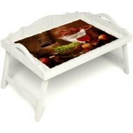 Столик для завтрака в постель «Русская берёза», «Привет с Кавказа» с 3-мя фигурными бортиками цвет белый