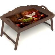 Столик для завтрака в постель «Привет с Кавказа» с 3-мя фигурными бортиками цвет орех