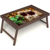 Столик для завтрака в постель «Русская берёза», «Согревающий глинтвейн» без ручек цвет орех