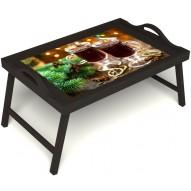 Столик для завтрака в постель «Согревающий глинтвейн» с ручками цвет венге
