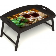 Столик для завтрака в постель «Русская берёза», «Согревающий глинтвейн» с 3-мя высокими бортиками цвет венге