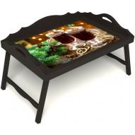 Столик для завтрака в постель «Русская берёза», «Согревающий глинтвейн» с 3-мя фигурными бортиками цвет венге