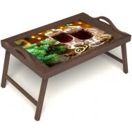 Столик для завтрака в постель «Русская берёза», «Согревающий глинтвейн» с ручками цвет орех