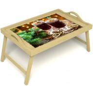 Столик для завтрака в постель «Русская берёза», «Согревающий глинтвейн» с ручками цвет светлый