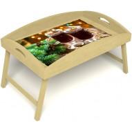 Столик для завтрака в постель «Русская берёза», «Согревающий глинтвейн» с высоким бортиком цвет светлый