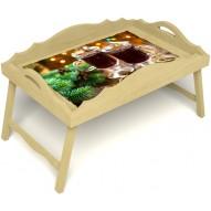 Столик для завтрака в постель «Русская берёза», «Согревающий глинтвейн» с фигурным бортиком цвет светлый
