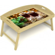 Столик для завтрака в постель «Русская берёза», «Согревающий глинтвейн» с 3-мя высокими бортиками цвет светлый