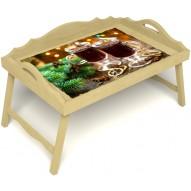 Столик для завтрака в постель «Русская берёза», «Согревающий глинтвейн» с 3-мя фигурными бортиками цвет светлый