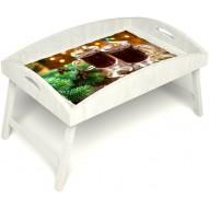 Столик для завтрака в постель «Русская берёза», «Согревающий глинтвейн» с высоким бортиком цвет белый