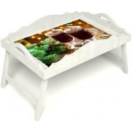 Столик для завтрака в постель «Русская берёза», «Согревающий глинтвейн» с фигурным бортиком цвет белый