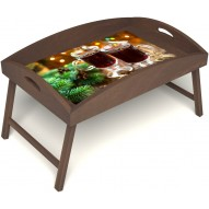 Столик для завтрака в постель «Русская берёза», «Согревающий глинтвейн» с высоким бортиком цвет орех