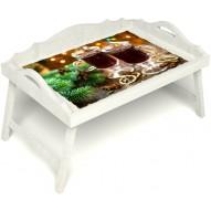 Столик для завтрака в постель «Русская берёза», «Согревающий глинтвейн» с 3-мя фигурными бортиками цвет белый
