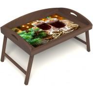 Столик для завтрака в постель «Русская берёза», «Согревающий глинтвейн» с 3-мя высокими бортиками цвет орех