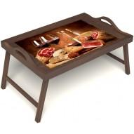 Столик для завтрака в постель «Тоскана» с ручками цвет орех