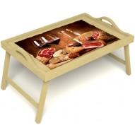 Столик для завтрака в постель «Русская берёза», «Тоскана» с ручками цвет светлый