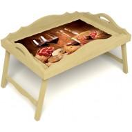 Столик для завтрака в постель «Русская берёза», «Тоскана» с фигурным бортиком цвет светлый