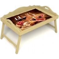 Столик для завтрака в постель «Русская берёза», «Тоскана» с 3-мя фигурными бортиками цвет светлый