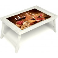 Столик для завтрака в постель «Русская берёза», «Тоскана» без ручек цвет белый