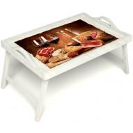 Столик для завтрака в постель «Тоскана» с ручками цвет белый