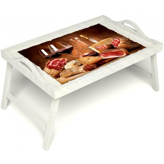 Столик для завтрака в постель «Русская берёза», «Тоскана» с ручками цвет белый