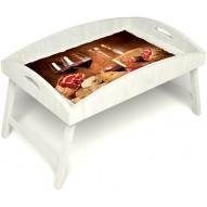 Столик для завтрака в постель «Русская берёза», «Тоскана» с высоким бортиком цвет белый