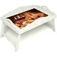 Столик для завтрака в постель «Русская берёза», «Тоскана» с фигурным бортиком цвет белый
