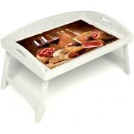 Столик для завтрака в постель «Русская берёза», «Тоскана» с 3-мя высокими бортиками цвет белый