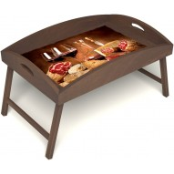Столик для завтрака в постель «Русская берёза», «Тоскана» с высоким бортиком цвет орех