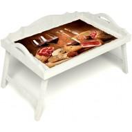 Столик для завтрака в постель «Русская берёза», «Тоскана» с 3-мя фигурными бортиками цвет белый