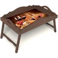 Столик для завтрака в постель «Русская берёза», «Тоскана» с фигурным бортиком цвет орех
