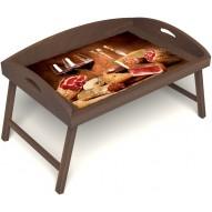 Столик для завтрака в постель «Русская берёза», «Тоскана» с 3-мя высокими бортиками цвет орех