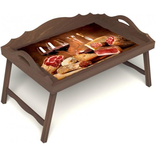 Столик для завтрака в постель «Русская берёза», «Тоскана» с 3-мя фигурными бортиками цвет орех
