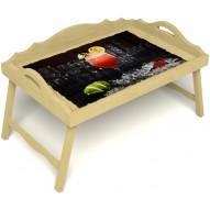 Столик для завтрака в постель «Русская берёза», «Цитрусовый микс» с 3-мя фигурными бортиками цвет светлый